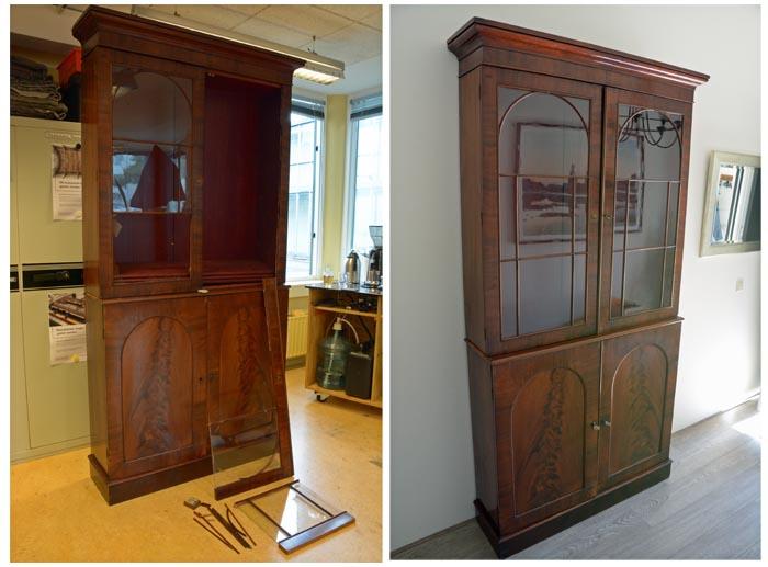 mahonie vitrinekast glas vervangen deur restauratie