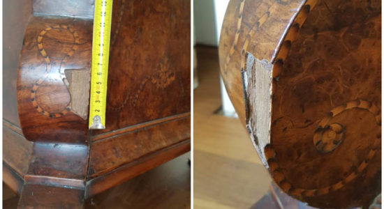 marqueterie verhuisschade offerte prijsopgave meubel