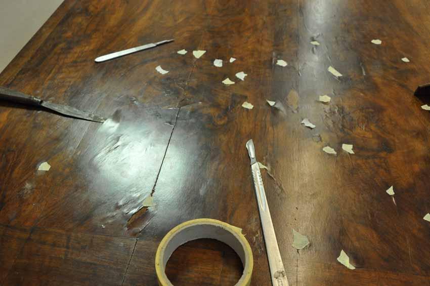 fineer repareren restauratie antiek meubel