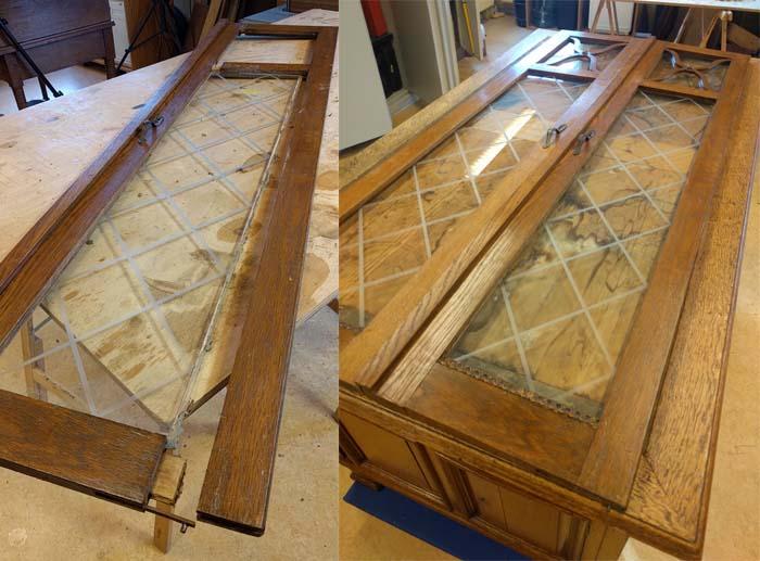 gebroken antieke deur verlijmen glas vervangen